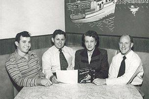 """Anthony's founders, 1946 - L to R: Anthony Ghio, Tod Ghio, Catherine """"Mama"""" Ghio, and Roy Weber - photo by Anthony's Fish Grotto"""